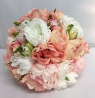 PEONIES VINTAGE BOUQUET BRIDE BROOCH WEDDING FLOWERS PINK PEACH WHITE ARTIFICIAL